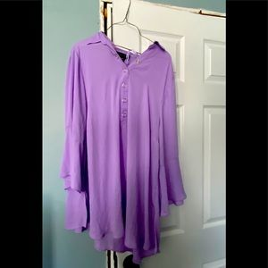 Lilac colored bell sleeve blouse